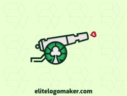 Vector logo in the shape of a cannon combined with a club suit with stylized style with red, green, and black colors.