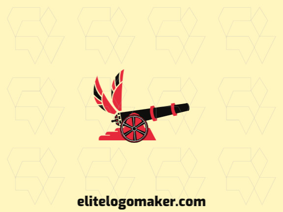 Logo design in the shape of a cannon combined with wings with creative design and abstract style.