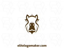 Create a logo for your company, in the shape of a capybara, with symmetric style and brown color.
