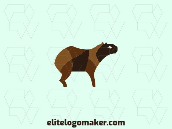 Stylized logo with a refined design forming a capybara with white and brown colors.