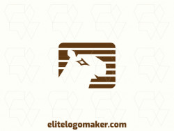 Create a vector logo for your company in the shape of a capybara, with an abstract style, the color used was brown.