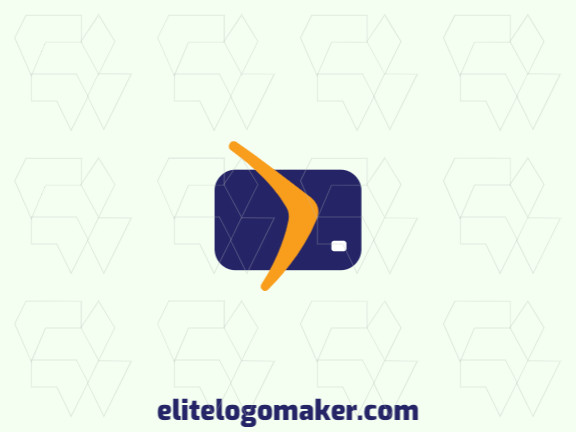 Logo available for sale in the shape of a card combined with a boomerang with a minimalist style with blue and orange colors.