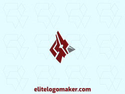 Animal logo template composed of abstract shapes forming a cardinal with gray and red colors.