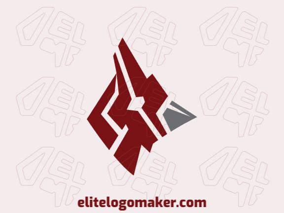 Logotipo animal criado com formas abstratas formando uma cabeça de cardeal com as cores vermelho e cinza.