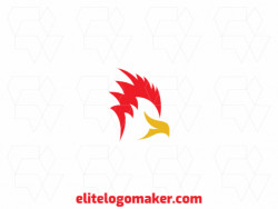 Simple logo composed of abstract shapes, forming a cardinal with red and yellow colors.