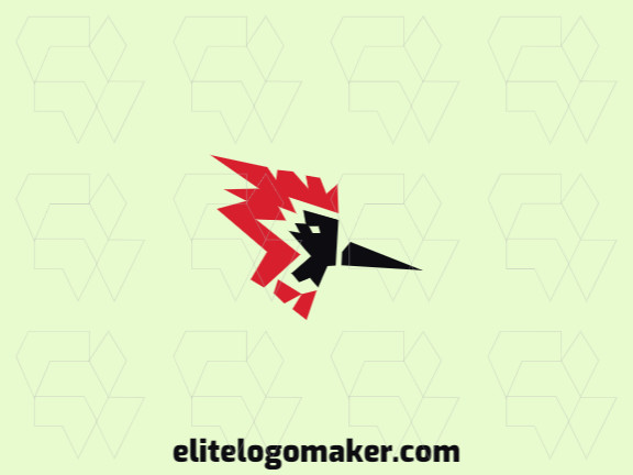Logo in the shape of a cardinal head with abstract design with black and red colors.