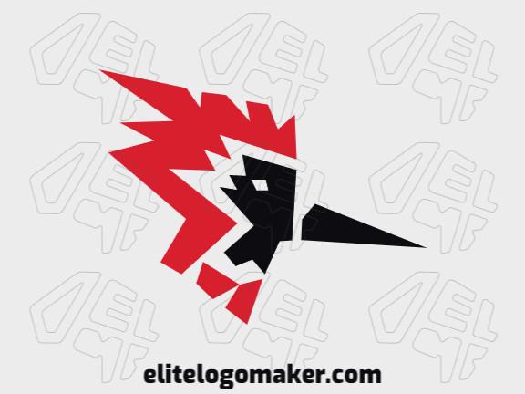 Logotipo simples com elementos abstratos, formando uma cabeça de cardeal com design refinado.