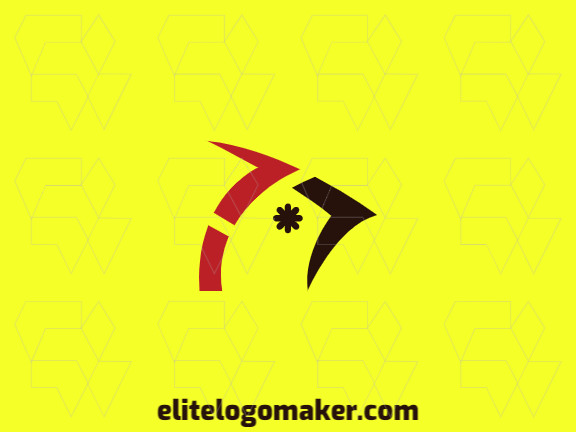 Minimalist logo in the shape of a cardinal combined with an asterisk with red and black colors.