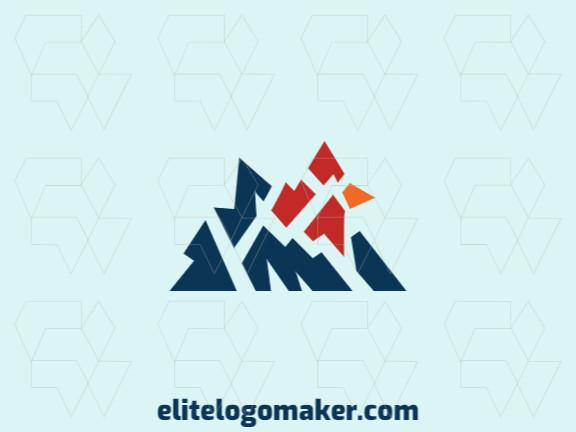 Logotipo criativo com design abstrato formando um cardeal combinado com uma montanha com as cores azul, amarelo, e vermelho.