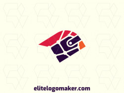 Mosaic logo with the shape of a cardinal combined with a wallet with red and purple colors.