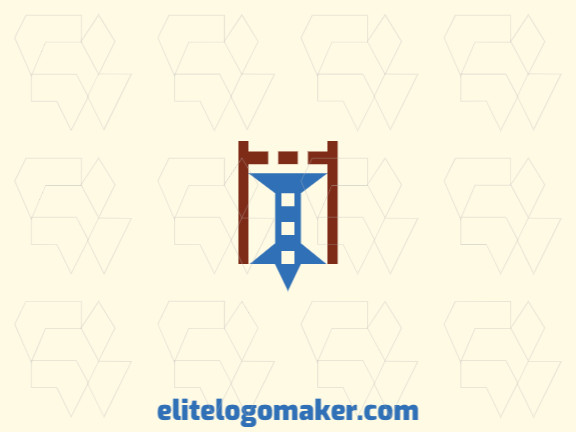 Minimalist logo design consists of the combination of a castle with a shape of a pin with brown and blue colors.