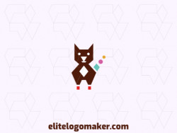 Animal logo in the shape of a cat with the simple form combined with circles with brown, pink and yellow colors.
