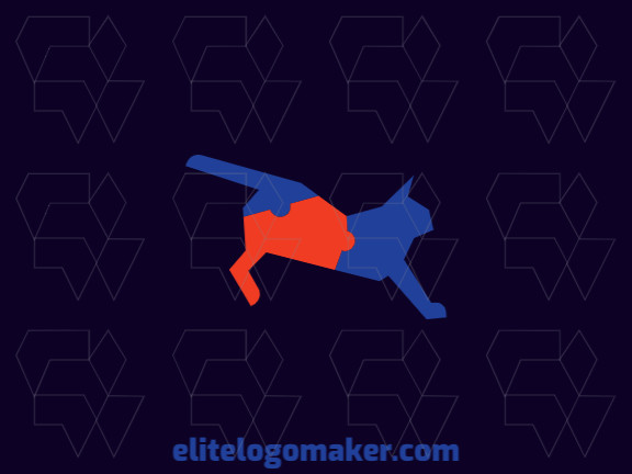 Animal logo in the shape of a jumping cat combined with a jigsaw puzzle with blue and orange colors.