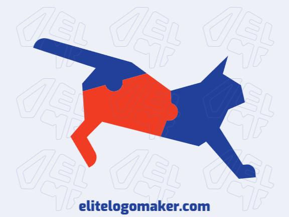 Logotipo customizável com a forma de um gato combinado com um quebra-cabeça composto por um estilo abstrato e cores laranja e azul.