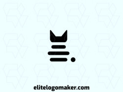 Professional logo in the shape of a cat, with a minimalist style, the color used was black.