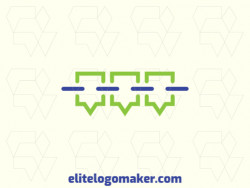 Simple logo with the shape of a chain combined with chat boxes with blue and green colors.