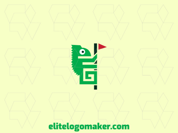 Animal logo in the shape of a chameleon combined with a flag composed of abstracts shapes with green and red colors.