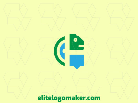 Mascot logo with the shape of a chameleon combined with a chat box with blue and green colors.