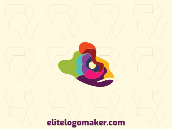 Stylized logo in the shape of a chameleon head composed of abstracts shapes with pink, blue, green, purple, yellow, orange and red colors.