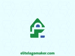 Vector logo in the shape of a chameleon combined with a house, with a minimalist style.