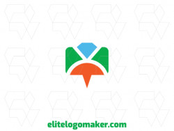 Vector logo in the shape of a chat box combined with a ring with minimalist design with green, blue, and orange colors.