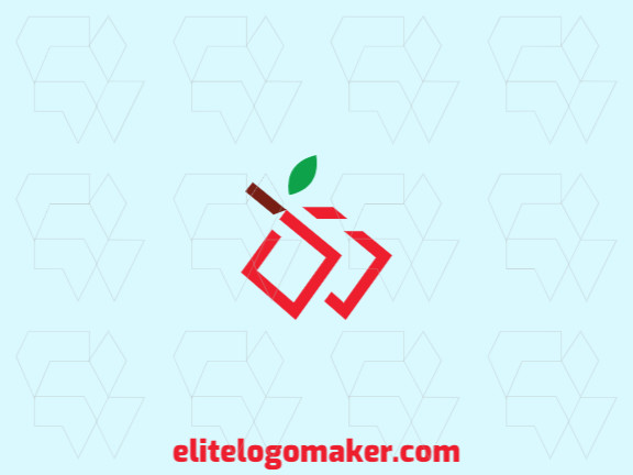 Minimalist logo design in the shape of a cherry composed of strong lines and abstracts shapes with red, brown, and green colors.