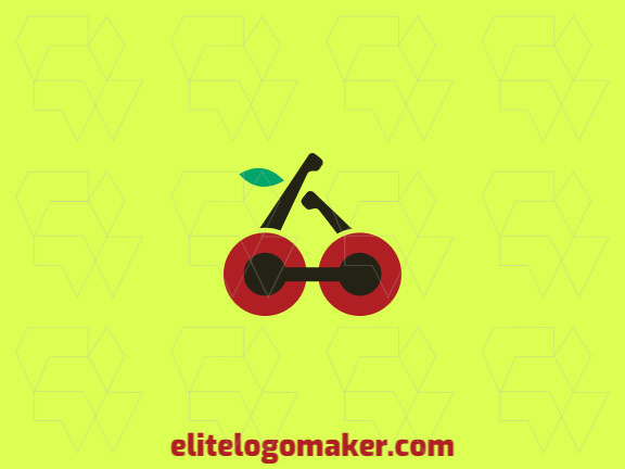 Simple logo design in the shape of a cherry combined with two hands and a dumbbell with green, red and black colors.