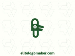 Create an ideal logo for your business in the shape of a clip combined with an alligator, with abstract style and customizable colors.