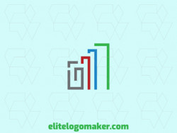 Simple and professional logo design in the shape of a clip combined with a graph with minimalist style, the colors used is green, gray, blue, and red.