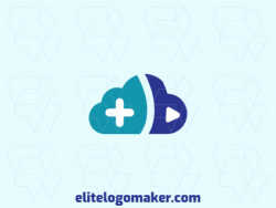 "Professional logo in the shape of a cloud combined with a letter ""B"", with creative design and abstract style."