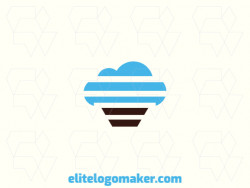 Professional logo in the shape of a cloud combined with a cupcake, with creative design and abstract style.