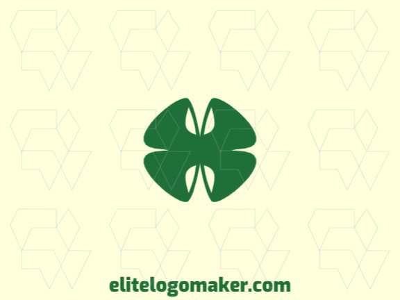 3d logo design created with abstract shapes forming a four leaf clover with green color.