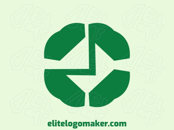 Logotipo minimalista criado com formas abstratas formando um trevo combinado com um email com a cor verde.