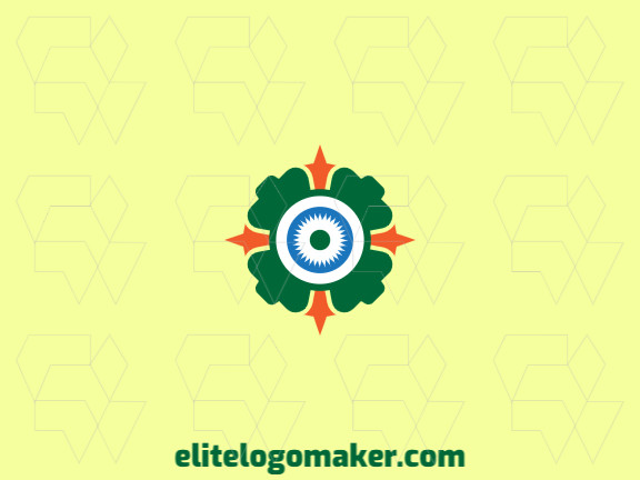 Logo available for sale in the shape of a clover combined with a gear with abstract design.