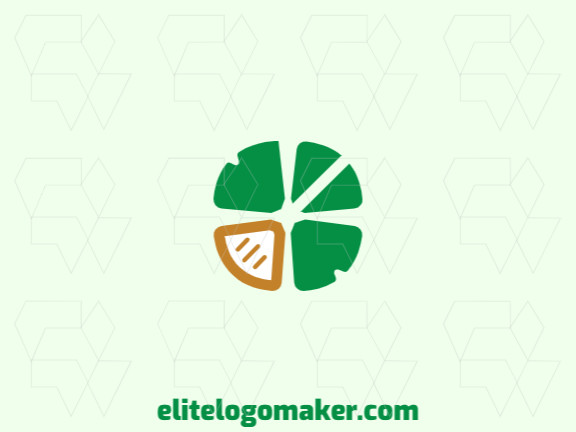 Simple and professional logo design in the shape of a clover combined with a spoon with minimalist style, the colors used is yellow and green.