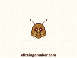 Create your logo in the shape of a cockroach with illustrative style with yellow and brown colors.