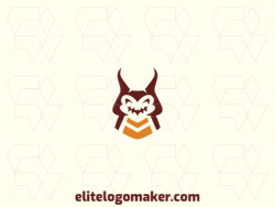 Create a vector logo for your company in the shape of a cockroach with symmetric style, the colors used were brown and orange.