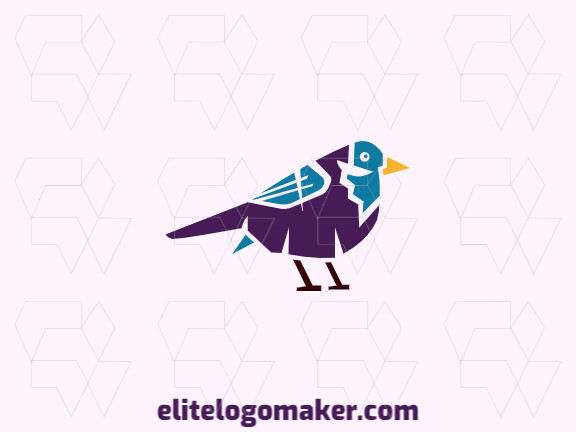 Vector logo in the shape of a colorful bird with an abstract design, the colors used are yellow, blue, brown, and purple.