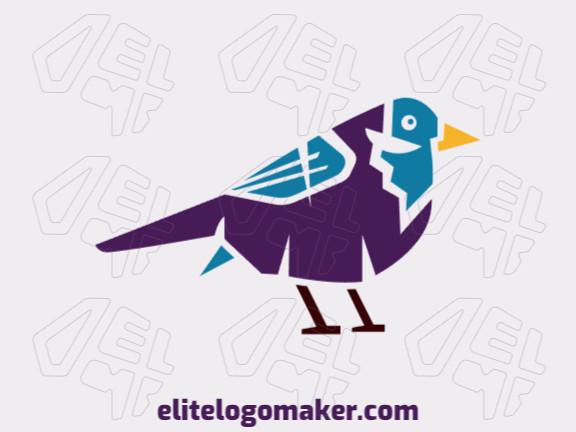 Logotipo abstrato customizável com a forma de um passarinho com cores azul, marrom, amarelo, e roxo.