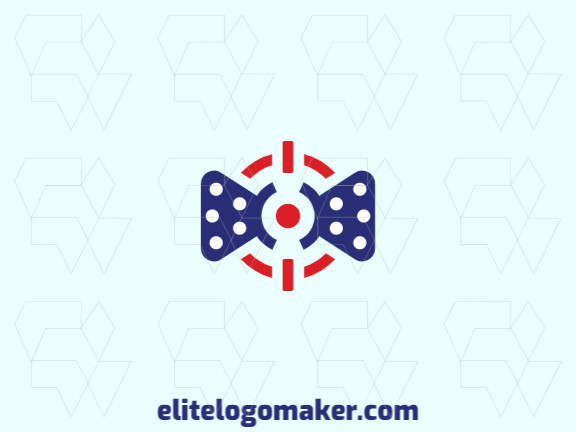 Minimalist logo design consists of the combination of a target with a shape of a bow tie with blue and red colors.