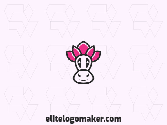 Animal logo design in the shape of a cow head combined with a flower with pink and black colors.