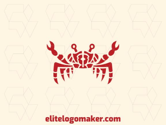 Logotipo adequado para várias empresas com a ilustração de um caranguejo com design único e estilo simétrico.