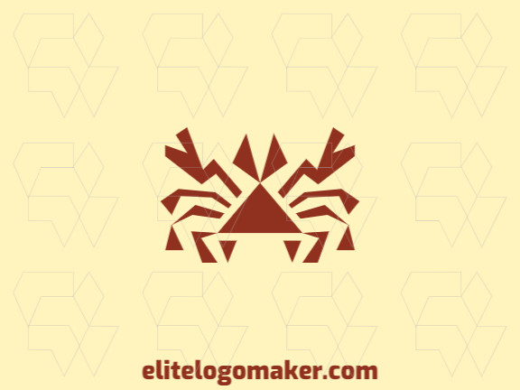 Animal logo with the shape of a crab composed of abstract shapes and triangles with red color.