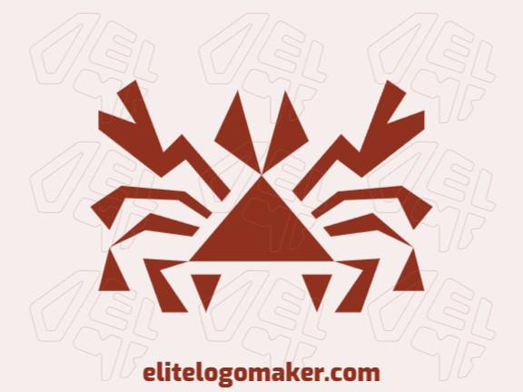 Logotipo customizável com a forma de um caranguejo composto por um estilo abstrato e cor marrom.