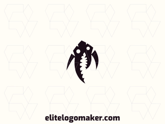 Logo with creative design, forming a creature, with abstract style and customizable colors.