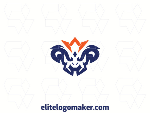 Abstract logo with solid shapes forming a creature with a refined design, with blue and orange colors.