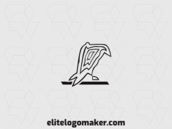 Animal logo with the shape of a crow upon a twig composed of lines with black color.