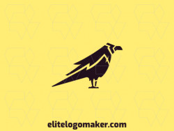 Simple logo composed of abstract shapes forming a crow with the color black.
