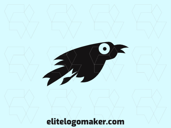 Animal logo design with the shape of a flying crow made up of abstracts shapes with black colors.