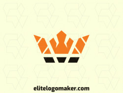 Create a logo for your company in the shape of a crown with a minimalist style with orange and black colors.
